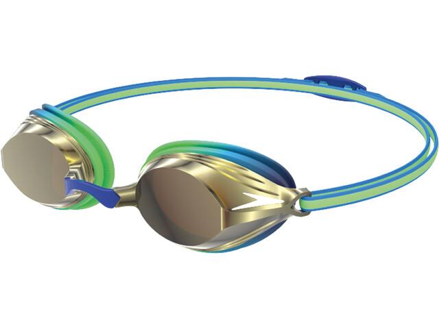 speedo Vengeance Mirror Masque Enfant, green glow/beautiful blue/gold